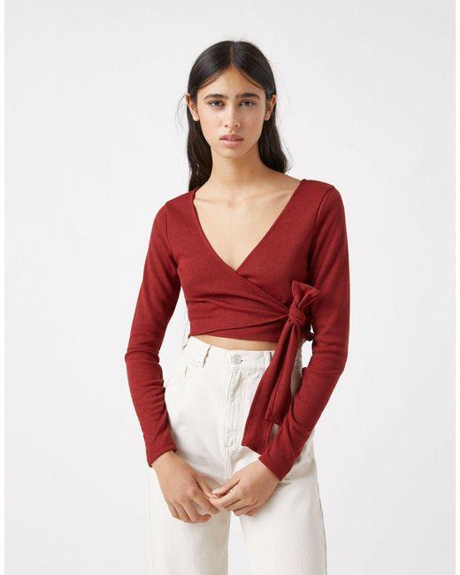 Мягкий Рыжий Топ С Запахом В Балетном Стиле От Комплекта -коричневый Цвет Pull&Bear, цвет: Red