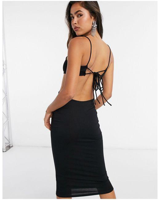 ASOS Black Strappy Back Cut-out Bodycon Midi Dress