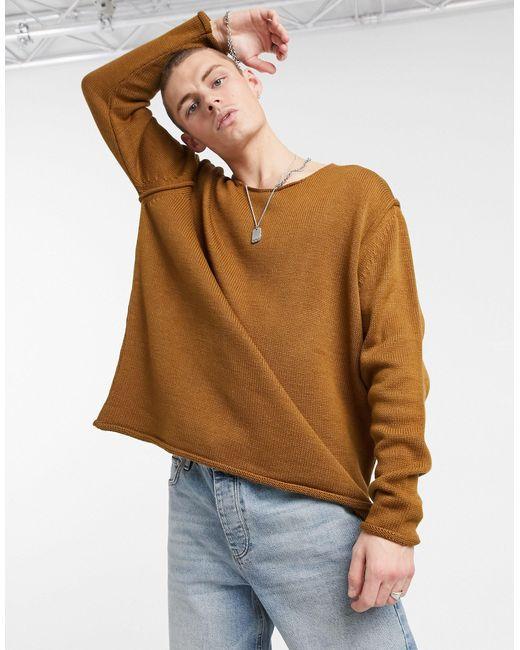Светло-коричневый Фактурный Джемпер В Стиле Oversized ASOS для него, цвет: Brown