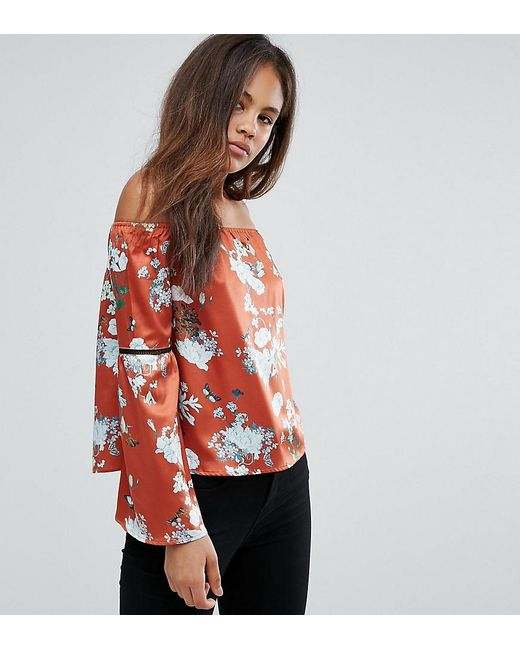 819bba1c6739d Missguided - Orange Exclusive Tall Bardot Floral Print Top - Lyst ...