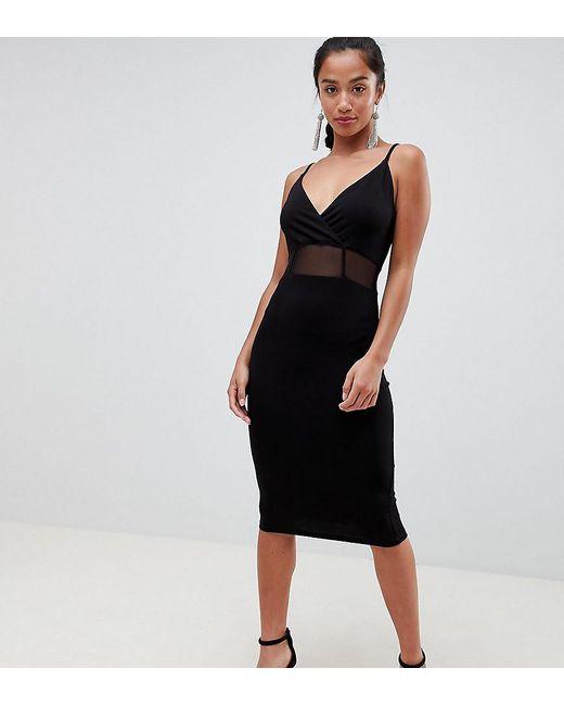 596f97d360069 ASOS - Black Asos Design Petite Midi Cami Bodycon Dress With Mesh Insert  Detail - Lyst ...