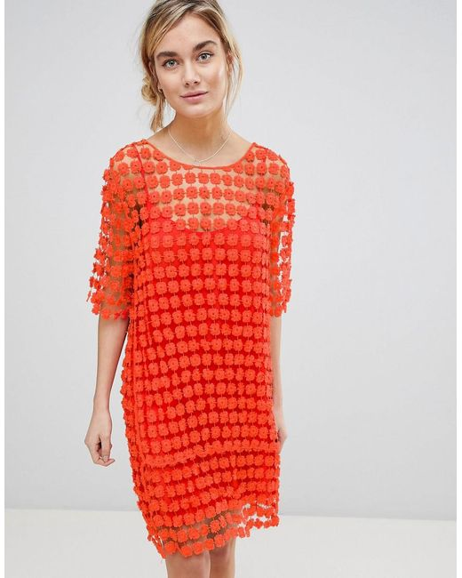 Lyst See U Soon Shift Dress In Floral Crochet In Orange