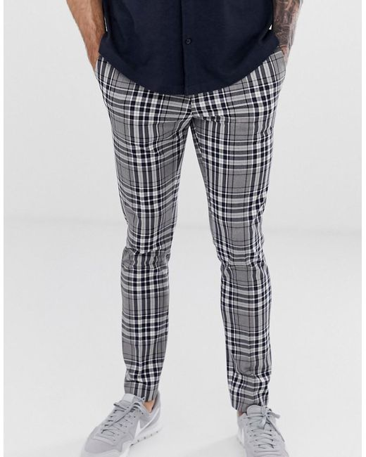 216a159305 River Island Skinny Smart Trousers In Bold Grey Check in Gray for ...