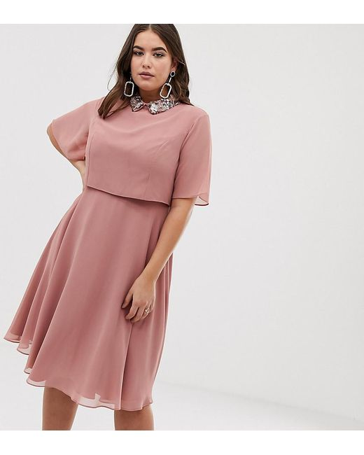 0476a95bb7e8 ASOS - Pink Asos Design Curve Midi Dress With Crop Top And 3d Embellished  Collar ...