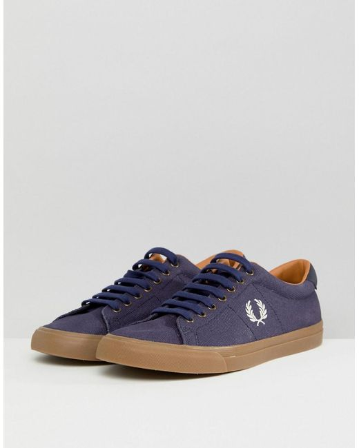 Fred Perry Underspin Heavy Waxed Canvas Sneakers In HAuROt8wWb