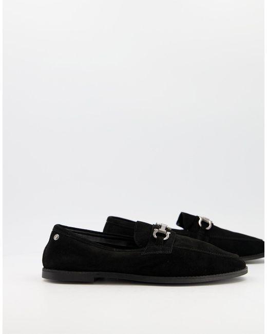 Ben Sherman Black Suede Snaffle Bar Loafers for men