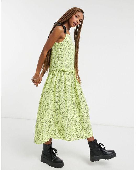 Платье Лаймового Цвета С Драпировкой На Талии -зеленый TOPSHOP, цвет: Green