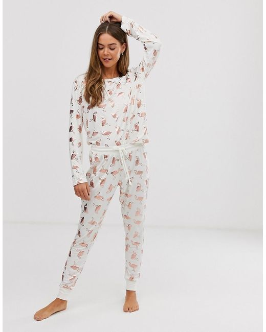 Chelsea Peers White And Rose Gold Foil Flamingos Trouser Pyjama Set
