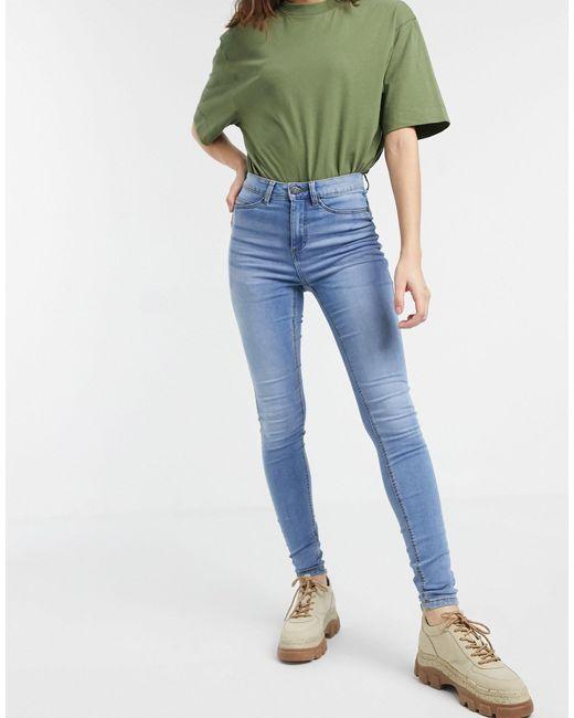 Noisy May Blue Callie High Waist Skinny Jeans