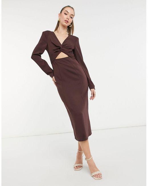 Коричневое Трикотажное Платье Миди С Вырезом -коричневый Цвет & Other Stories, цвет: Brown