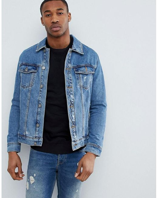 Bershka - Denim Jacket In Blue for Men - Lyst