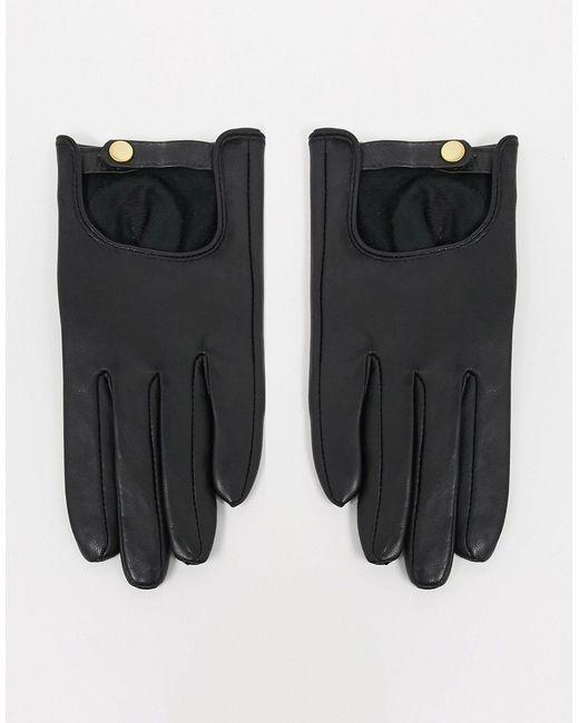 Черные Кожаные Перчатки Для Сенсорных Экранов ASOS, цвет: Black