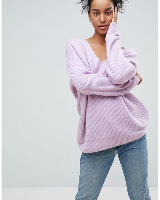 Asos Chunky Sweater In Oversized With V Neck in Purple | Lyst