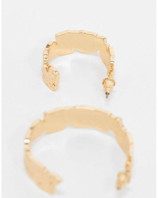 Набор Из 2 Пар Золотистых Серег-колец ASOS, цвет: Metallic