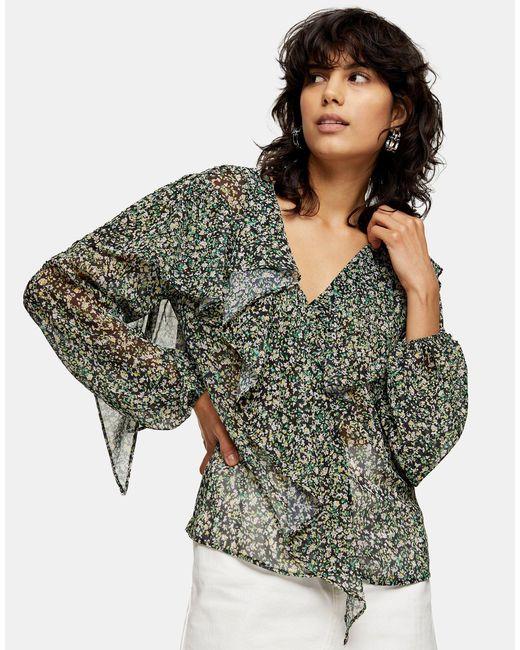 Разноцветная Блузка С Оборками -мульти TOPSHOP, цвет: Multicolor
