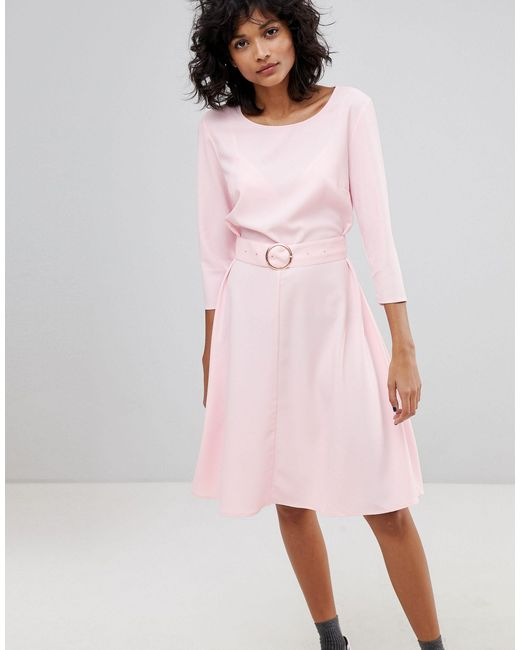 2nd Day Pink Ring Belted Midi Dress