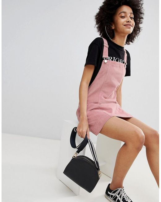 dungaree dress in pink - Pink Bershka qxt0M0tC8N