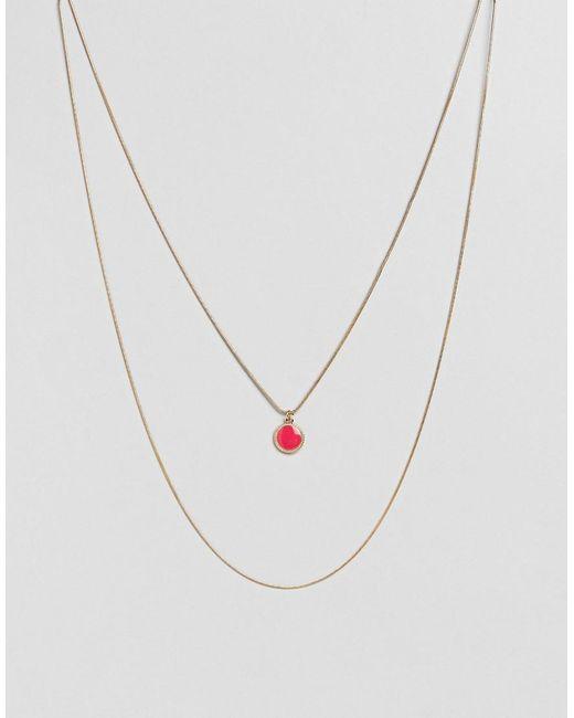 ASOS - Pink Enamel Disc Multirow Necklace - Lyst