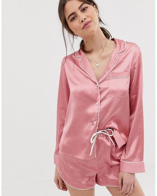ASOS Mix En Match - Satijnen Pyjamahemd in het Pink