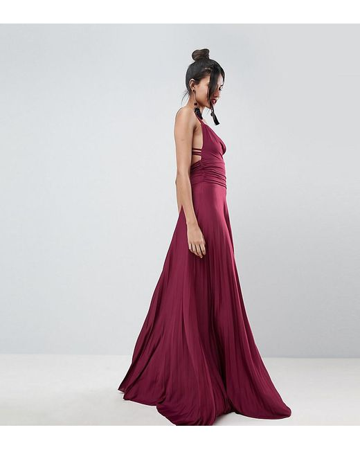 ASOS - Purple Pleated Maxi Dress With Cowl Neck & Strappy Detail - Lyst