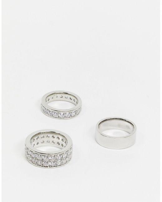 Набор Серебристых Колец С Фианитом -серебряный ASOS для него, цвет: Metallic
