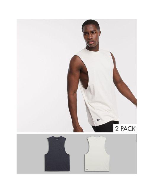 Confezione da 2 T-shirt comode senza maniche con giromanica ampio di Threadbare in Multicolor da Uomo