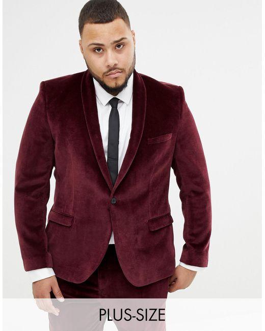 Twisted Tailor Purple Super Skinny Velvet Suit Jacket for men
