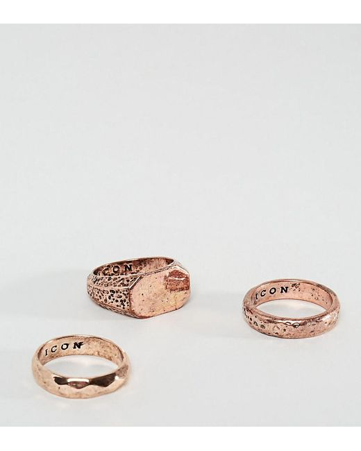 Icon Brand | Multicolor Copper Band & Signet Rings In 3 Pack for Men | Lyst