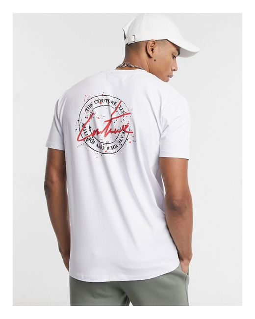 The Couture Club White Slim Fit New Stamp T-shirt With Back Print for men