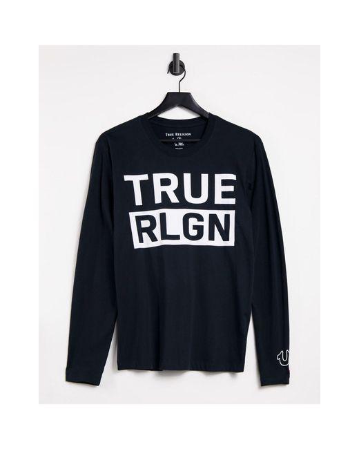 Черный Лонгслив С Логотипом На Груди -черный Цвет True Religion для него, цвет: Black