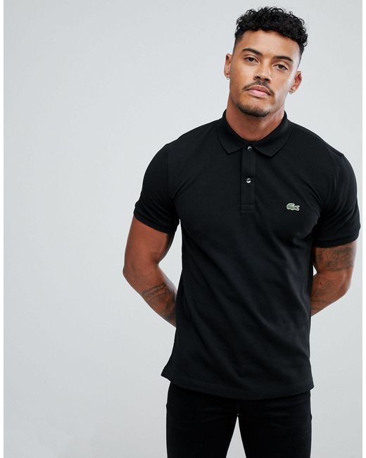 Lacoste Slim Fit Pique Polo in Black for Men - Lyst