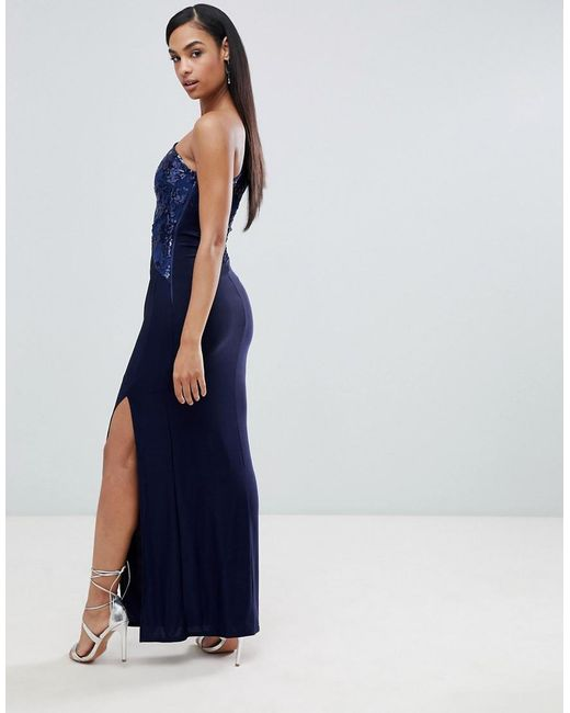 reliable quality newest collection coupon codes Lipsy One Shoulder Sequin Lace Maxi Dress in Navy (Blue) - Lyst