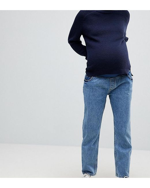 new products new styles sale uk Recycled Florence Authentic Straight Leg Jeans In Mindy Vintage Blue Wash  With Under The Bump Waistband
