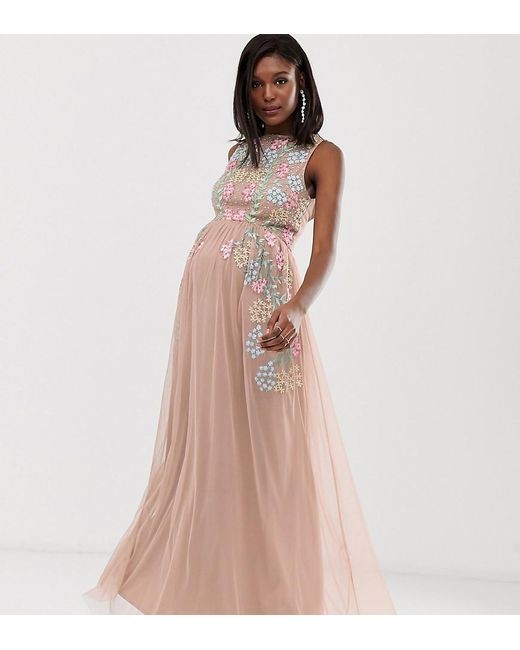 0b9682e86a836 Maya Maternity - All Over Embroidered Maxi Dress In Pink Multi - Lyst ...