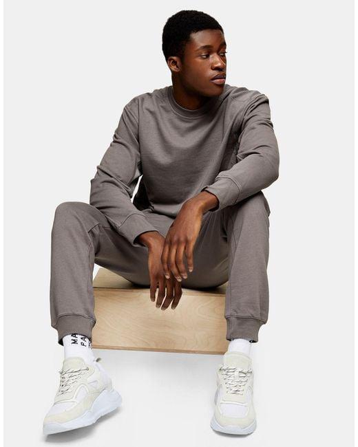 Topman Gray Ltd Cargo Sweatpants for men