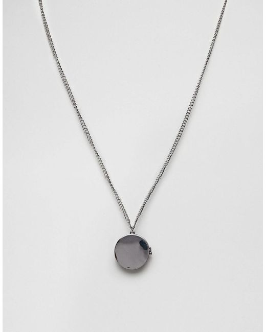 ASOS | Metallic Necklace In Silver With Locket Pendant for Men | Lyst