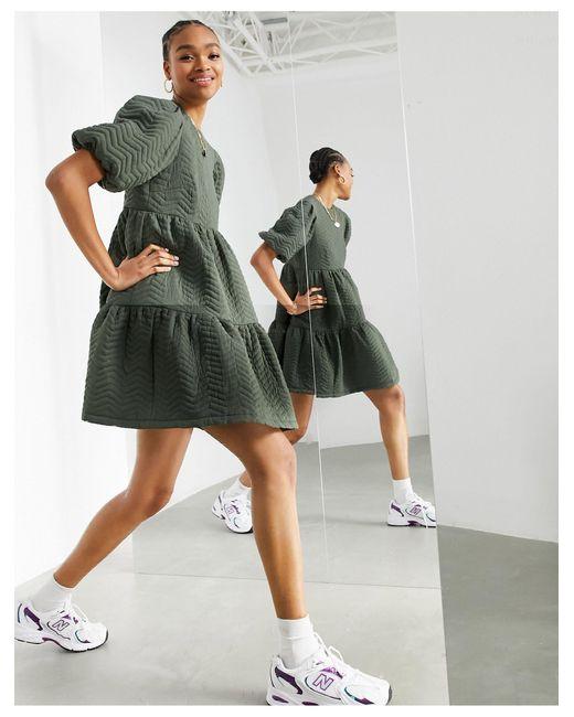Свободное Ярусное Стеганое Платье Мини Оливково-зеленого Цвета -зеленый Цвет ASOS, цвет: Green