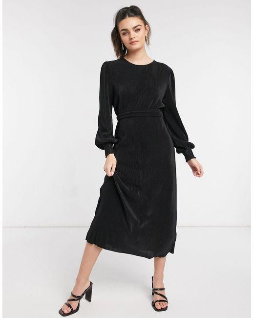 Vestito midi plissé nero di Y.A.S in Black