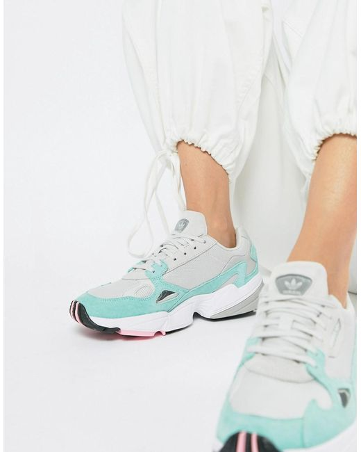 adidas Originals Falcon Sneaker In Gray And Mint Lyst
