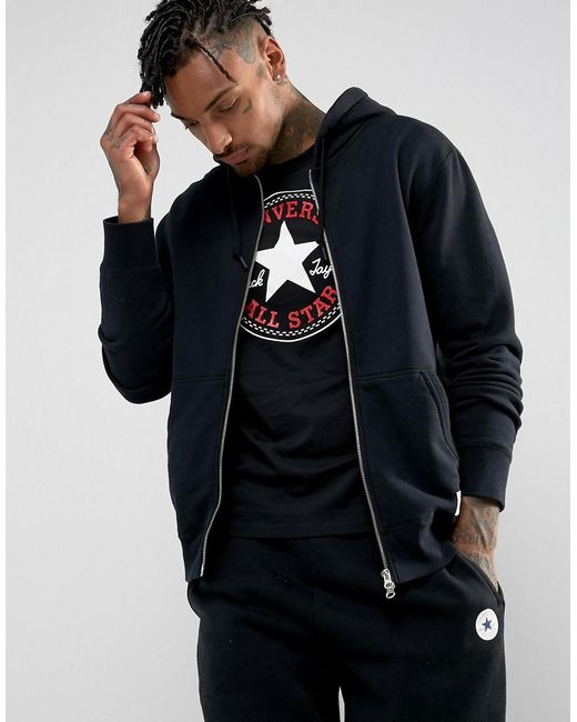 Converse | Essentials Luxe Zip-up Hoodie In Black 10000655-a01 for Men | Lyst