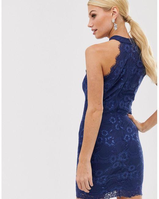 Кружевное Облегающее Платье -темно-синий AX Paris, цвет: Blue