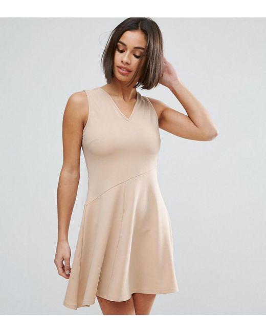 ASOS | Pink Skater Dress With Asymmetric Full Skirt Dress With V Neck | Lyst