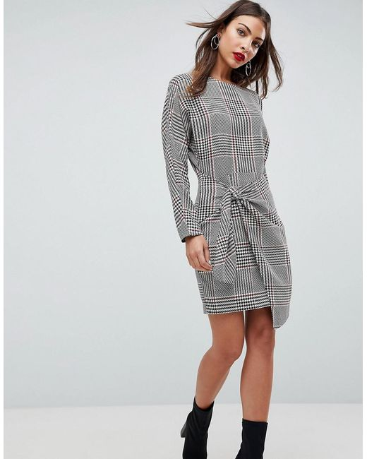 d0a22c788a ASOS - Gray Asos Checked 80's Mini Dress With Circle Belt - Lyst ...