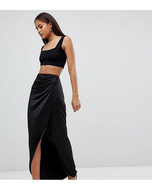 626c17320e ASOS - Black Asos Design Tall Satin Wrap Maxi Skirt - Lyst ...