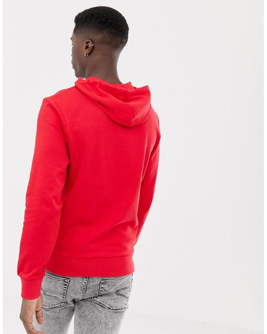 36e4ee1d4c0987 ... Jack   Jones - Essentials Pullover Hoodie In Red With Drawstrings for  Men - Lyst