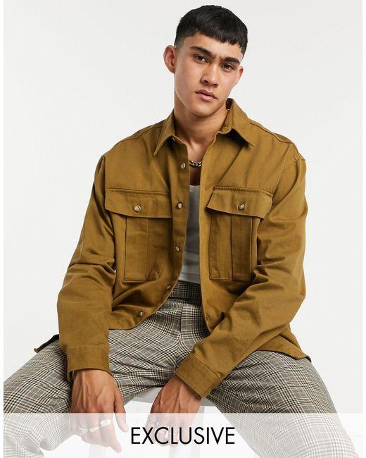 Коричневая Куртка-рубашка Из Твила С Эффектом Потертости Inspired-коричневый Reclaimed (vintage) для него, цвет: Brown