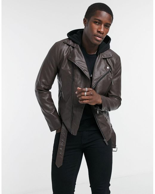 River Island – Bikerjacke aus PU in Brown für Herren