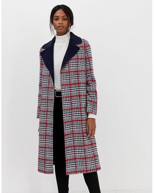 Helene Berman Multicolor Edge To Edge Check Coat