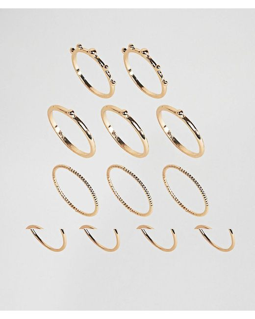 ASOS | Metallic Pack Of 12 Ball And Faceted Rings | Lyst