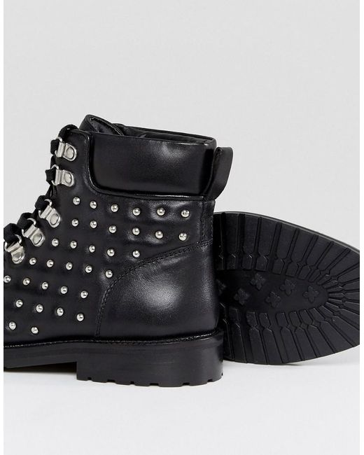 ASOS ATTY Leather Studded Flat Boots d3ZLOjen